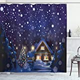 ABAKUHAUS Weihnachten Duschvorhang, Winter-Nacht Haus, Klare Farben aus Stoff inkl.12 Haken Farbfest Schimmel & Wasser Resistent, 175 x 200 cm, Navy Blau Gelb