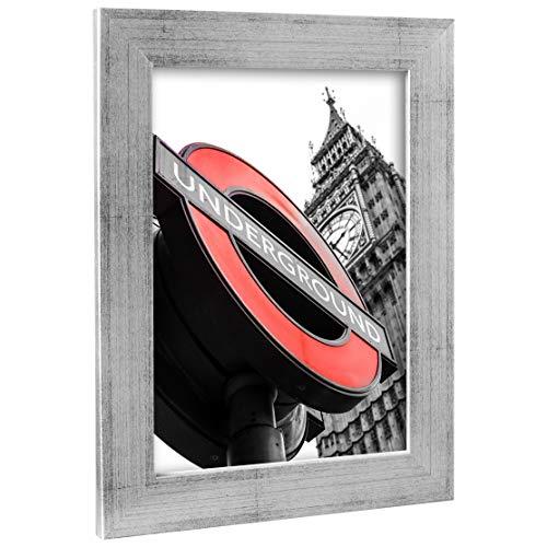 Bilderrahmen Fotorahmen 30x45 cm Silber bilderrahmen zum aufhängen MDF Picture Frames Farbe und 40 Verschiedene Größen wählbar ohne Passepartout Rahmen London