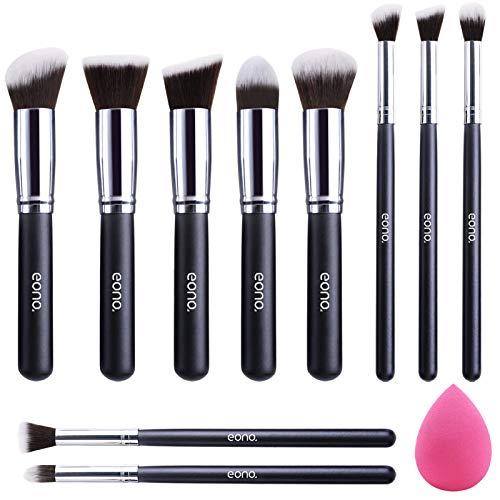EONO Essential Set de Brochas de Maquillaje Profesional, Synthetic Kabuki Premium para Base Polvos Colorete Contorno, con...