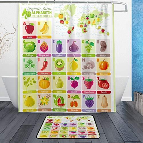 Naanle Baby Cartoon Alphabet ABC Weltkarte pädagogisch Wasserdicht Polyester Stoff Duschvorhang (152,4 x 182,9 cm) Set mit 12 Haken & Badvorleger (60 x 40 cm) für Badezimmer – Set von 2