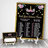 Katie Doodle Unicorn Party Supplies Favors Decorations for Birthday | Includes 8x10 Name Game Sign and 25 Nametags [Easels Not Included] BD501, Gold/Black/Pink