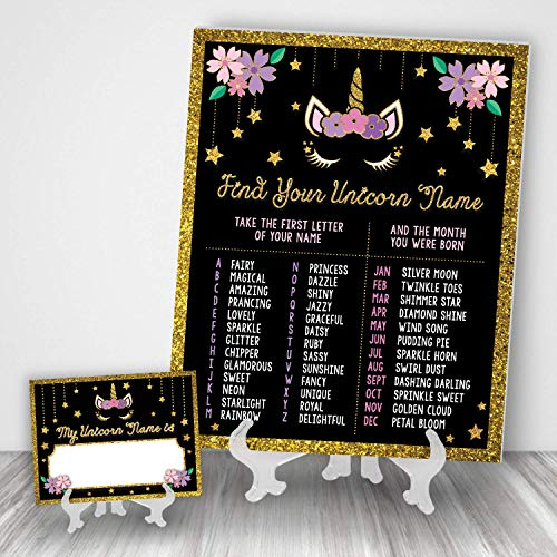Katie Doodle Unicorn Party Supplies Favors Decorations for Birthday   Includes 8x10 Name Game Sign and 25 Nametags [Easels Not Included] BD501, Gold/Black/Pink