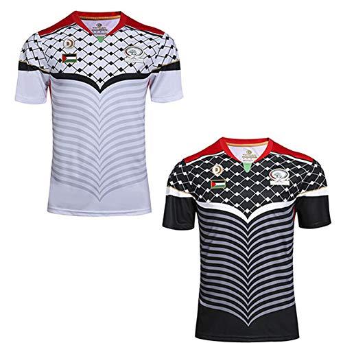 JUNBABY Palästina Rugby Trikot, klassisches Rugby T-Shirt, Herren Fußballtrikot-White-XXXL