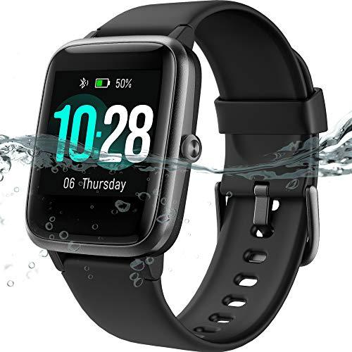 MSRVI Reloj de monitor de ritmo cardíaco, rastreador de fitness con monitor de sueño, IP68 impermeable reloj digital para hombres y mujeres, reloj inteligente para teléfonos Android, iOS Blak
