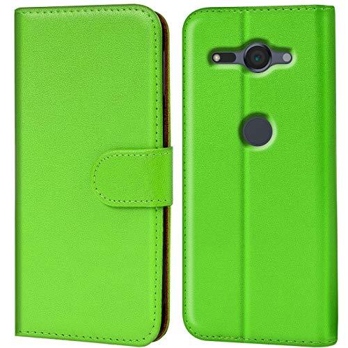 Verco Xperia XZ2 Compact Hülle, Handyhülle für Sony Xperia XZ2 Compact Tasche PU Leder Flip Hülle Brieftasche - Grün