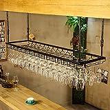 Jhgjbj soportes para copas sostenedor del vidrio de vino sostenedor del cubilete colgando estante del vidrio de vino bar escritorio bar club (color : negro, tamaño : 90 * 35cm)