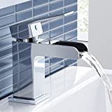 iBathUK   Modern Waterfall Chrome Basin Mixer Tap Monobloc Bathroom Sink Faucet TB3107