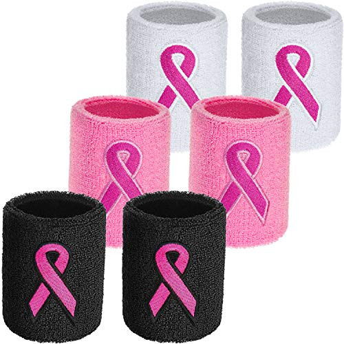 WILLBOND 6 Pieces Breast Cancer Awareness Wristbands Pink Ribbon Sweatbands Sports Wrist Sweatbands for Football Basketball Running Athletic (Pink, White, Black)