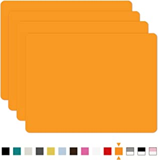 SiliconePlacemats,Food-GradeNon-SlipWaterproof,Dining,StainResistant,CountertopProtector,KitchenCounterMat,HeatResistant,Bakingmat DishwasherSafe (15.7x11.8Inch-4pack, Orange)