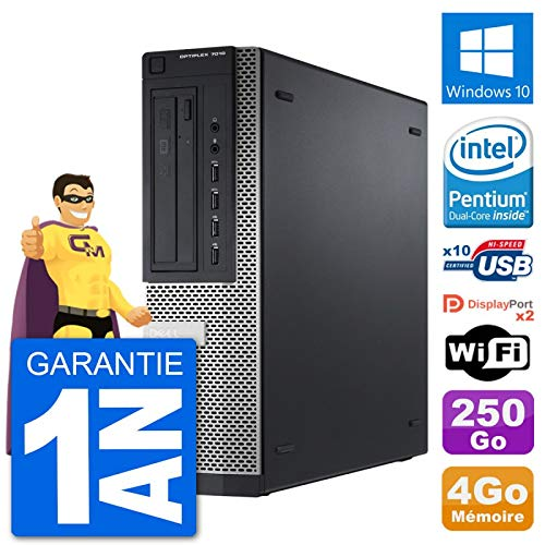 Dell PC OptiPlex 7010 DT Intel G2020 RAM 4Go Disque Dur 250Go Windows 10 WiFi (Reconditionné)