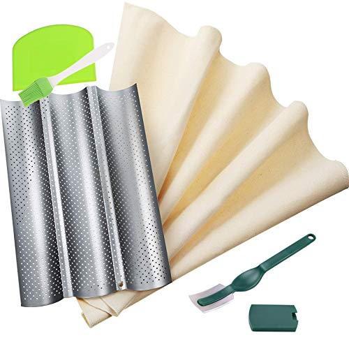 French Bread Baguette Pans for Baking,Nonstick Perforated Baguette Pan with Bakers Proofing Couche Dough Cloth,Bread Lame,Dough Scraper and Silicone Brush for Professional & Home Bakers
