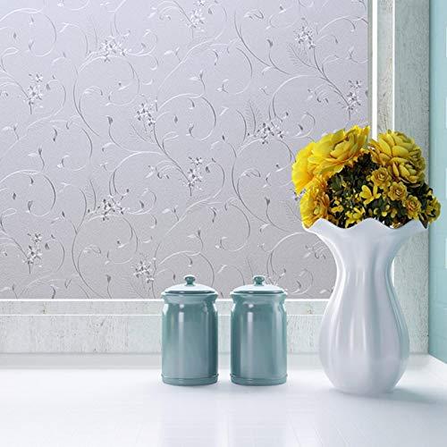 Zindoo Fensterfolie Selbsthaftend Blickdicht Blumenmuster ohne Kleber Milchglasfolie Sichtschutz Folie Dekofolie Anti-UV 90 x 200CM