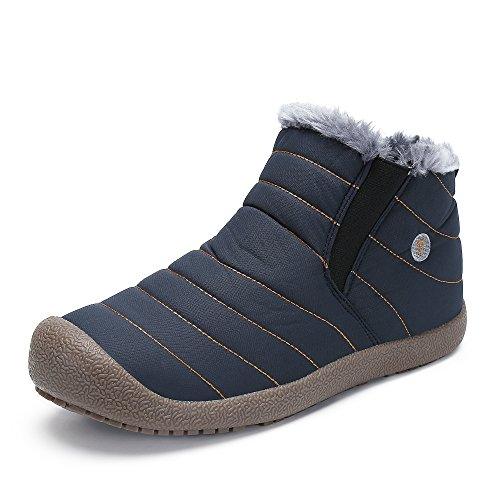SAGUARO Herren Damen Winterschuhe Warm Gefütterte Boots Stiefelette Outdoor Waterproof Schneestiefel,High top blau,39 EU