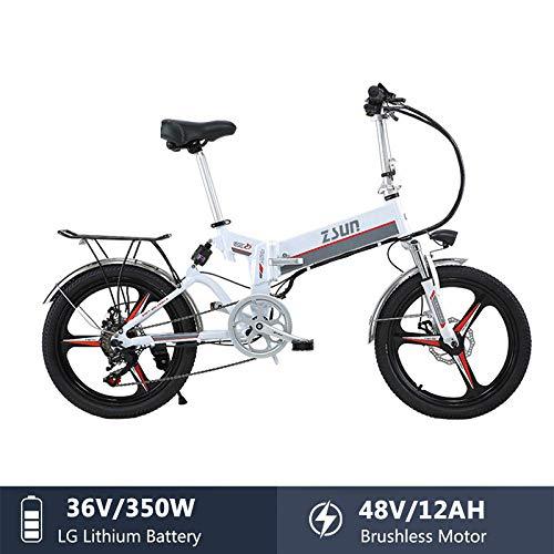 ZHAOSHOP E-Bike Elektrofahrrad, 20 Zoll 350W 48V 12AH ElektrofahrräDer FüR Herren Und Damen Hochfestem StoßDäMpfung Scheibenbremse Elektrisches Fahrrad