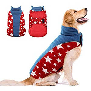Kuoser Reversible Dog Cold Weather Coat, Reflective Waterproof Winter Pet Jacket, Cozy Cold Weather Dog Coat Warm Cotton Lined Vest Windproof Collar Outdoor Apparel for Small Medium and Large Dogs