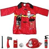 TE-Trend Pompieri Giacca Duty Equipaggiamento 8-Teilig Bebè Costume di Carnevale Accessorie