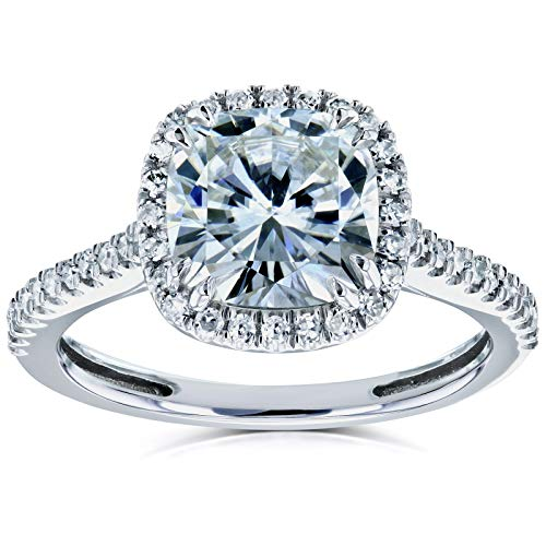 Kobelli Cushion Moissanite Halo Engagement Ring 2 1/4 CTW 14k White Gold, 5.5