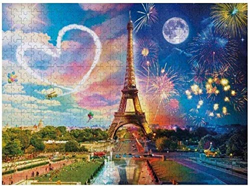DINGQING Jigsaw Puzzle 500 PCS - Night & Day Paris Love Tamaño Grande 500 Piezas de Rompecabezas Juego Decoraciones únicas para el hogar y Regalos de Bricolaje