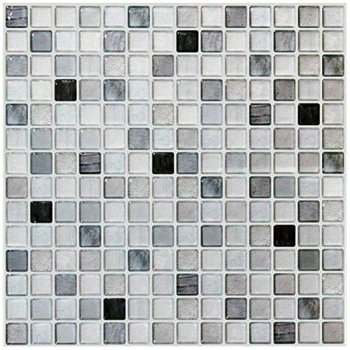 【 Dream Sticker 】 モザイクタイルシール キッチン 洗面所 トイレの模様替えに最適のDIY 壁紙デコレーション BST (モノクロ, 4枚セット)
