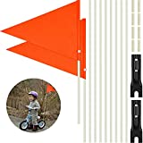 Tatuo 2 Pieces 6 ft Bike Safety Flag with Pole, Safety Flag with Bicycle Mounting Bracket Adjustable Height Fiberglass Pole Polyester Full Color Waterproof Safety Flag (Orange)