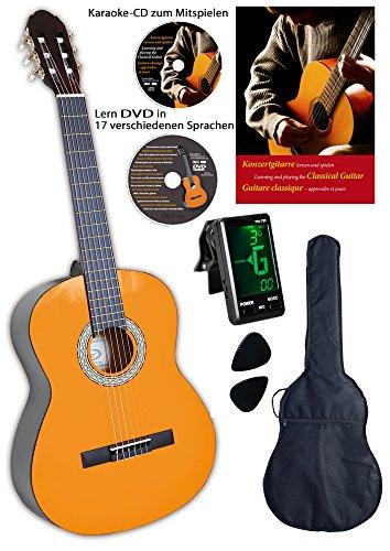 Clifton Konzertgitarre 1 4 mit Buch, Tasche, Plectren und Karaoke CD, Lern-DVD, Stimmgerät