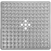 Yimobra Shower Mat for Bathtub, 21 x 21 Inches Bath Tub Square Mats, Non-Slip with Drain Holes, Suction Cups, BPA, Latex, Phthalate Free, Machine Washable, Clear Gray