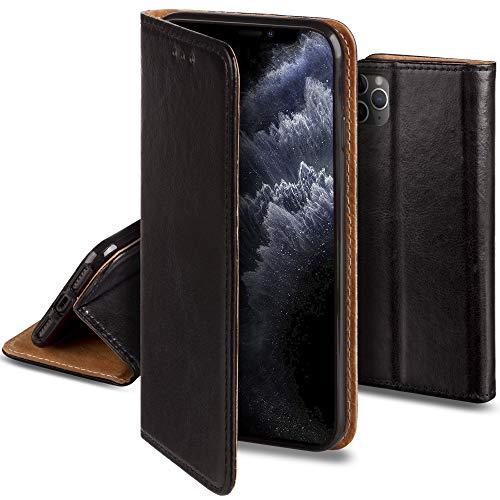 Moozy Lederhülle für iPhone 11 Pro, Schwarz - Ledertasche, Echt Leder Hülle mit Kartensteckplätze, Kartenfach & Standfunktion