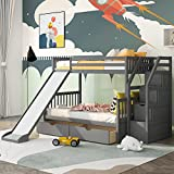 Twin Over Full Bunk Bed with Slides for Kids and Teenagers, Solid Wood Bunk Bed...