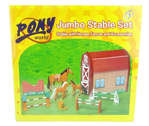 ponywereld jumbo stalenset - Stal met paarden, hekken en accessoires