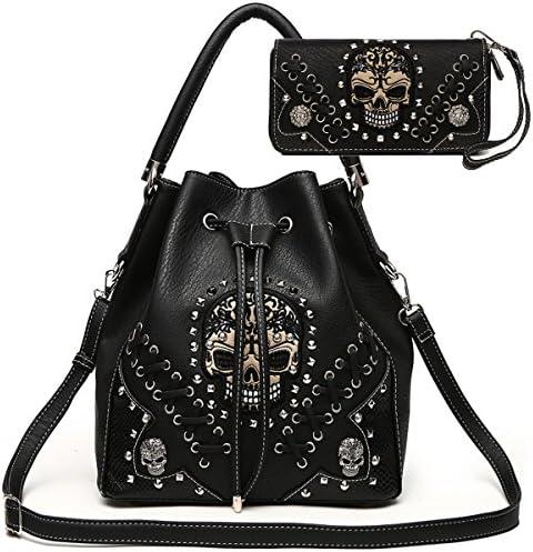Sugar Skull Punk Art Rivet Studded Concealed Carry Purse Women Handbag Fashion Shoulder Bag product image