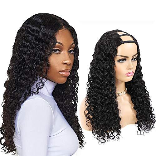 Ruiyu U Part Wigs Human Hair Wigs Glueless Deep Wave Curly Human Hair Wigs 180% Density 10A Half Wigs For Black Women Brazilian Full Head U-Part Hair Extension Clip In Half Wig(22 inch, Natural Color)