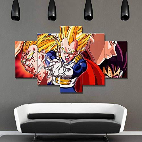 SHUSHUYA Leinwanddrucke 5 Stück Dragon Ball Z Anime Poster Super Saiyajin Goku Vegeta Charakter Wandbild Wandkunst Bild Room Home Decor