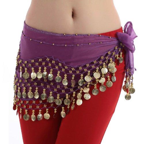 Hee Grand - Foulard da fianchi / gonna / cintura per la danza del ventre, con 128 monete su 3 file viola e oro. Etichettalia unica