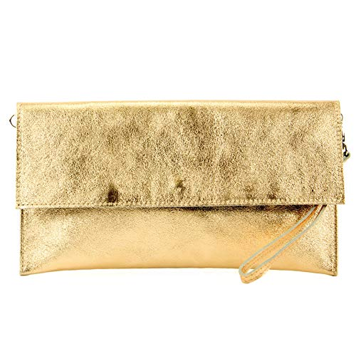 modamoda de - M106-151 - ital. Clutch Handgelenktasche Leder Metallic, Farbe:M151 Gold Metallic