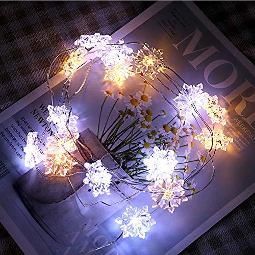 Luces de Cadena de Copo de Nieve de 30 Leds Luz de Hadas Cadena de Alambre de Copo de Nieve Impermeable Luces de Hadas Lámpara de Decoración Control Remoto para Bodas Cumpleaños