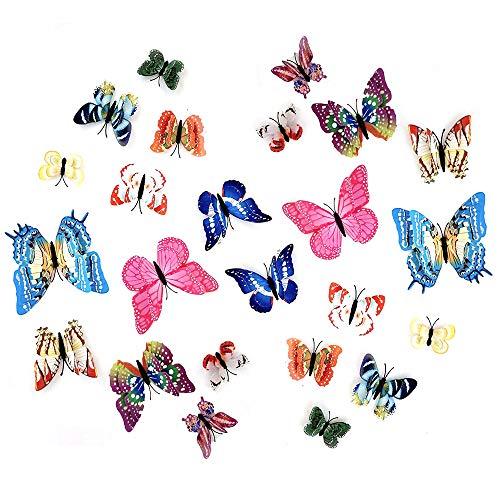 Pegatinas De Pared Magnéticas 3d Mariposas Engomadas Luminosas Arte Mariposas 3D Etiqueta Pegatinas Etiqueta Engomada Metálico Del Arte De La Mariposa Para Decoración Dormitorio Cocina Hogar 24 Piezas