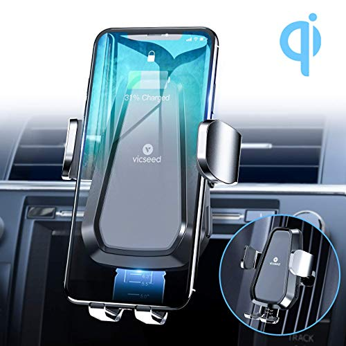 Ideal for iPhone 11//11 Pro//XR//XS//X//8 Samsung S20//Note 10//S10//S9//S8//S7【Black】 Qi Thermostasis Charging QC 3.0 Car Charger Supplied Auto Clamping VANMASS 10W Fast Wireless Car Charger Mount