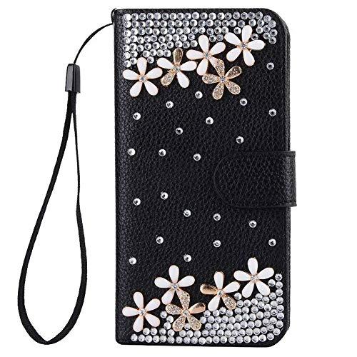 Awenroy Glitzer Hülle für Sony Xperia L2 Strass Handy Tasche Flip PU Leder Wallet Handyhülle Kartenfach Aufstellfunktion Magnetverschluss mit Stand Funktion - Schwarz