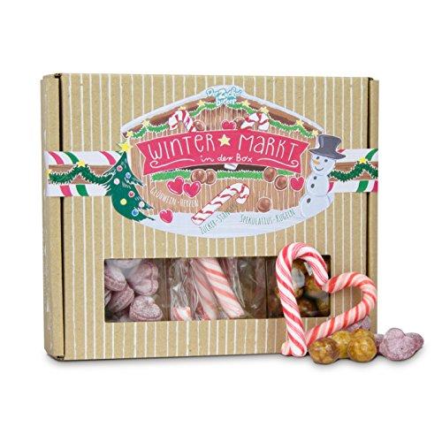 Wintermarkt in der Box, eine bunte Süßigkeiten-Mischung der besten Weihnachtsmarkt-Klassiker vereint in einer hübschen Box, tolles Geschenk zu Weihnachten
