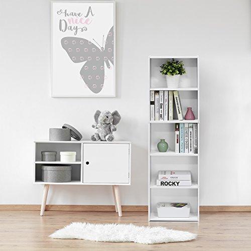 Furinno 11055WH 5-Tier Reversible Color Open Shelf Bookcase , White