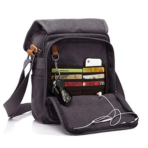 CHEREEKI Canvas Bag, Shoulder Bag Messenger Bag with Multiple Pockets (Hold 10 inch Tablet, iPad, Kindle) (Grey)