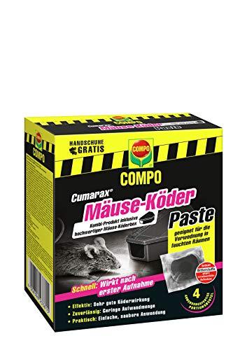 Compo Cumarax Mäuse-Köder Paste inklusive Mäuse-Köderbox, Anwendungsfertige Portionsbeutel, 40 g