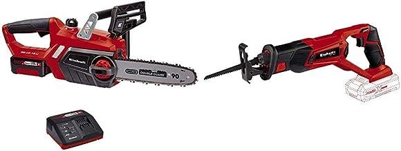 Einhell GE-LC 18 Li Kit - Motosierra a batería Power X-Change 18V , velocidad de corte: 4.3 m/s + TE-AP 18 Li -Sierra de sable inalámbrica, sistema de gestión de la batería