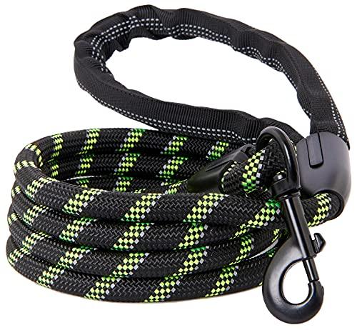 Starke Hundeleine, reflektierendes Seil, kau-resistentes Paracord für mittlere und große Hunde, haltbare Metallschließe, Befestigung am Haustierhalsband (1 Packung) (1.5m, Schwarz & Grün)