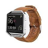 MroTech Correa Compatible para Fitbit Blaze [Sin Marco] Correa de Reloj de Cuero Genuino Vintage Pulseras de Repuesto Compatible Fitbit Blaze Smartwatch (Marrón)