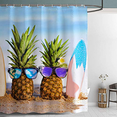 "Jamehome Pineapple Fabric Shower Curtain with Hooks Cute Beach Landscape Colourful Decor Creative Home Ideas 72""X72"" Waterproof Decorative Bathroom"