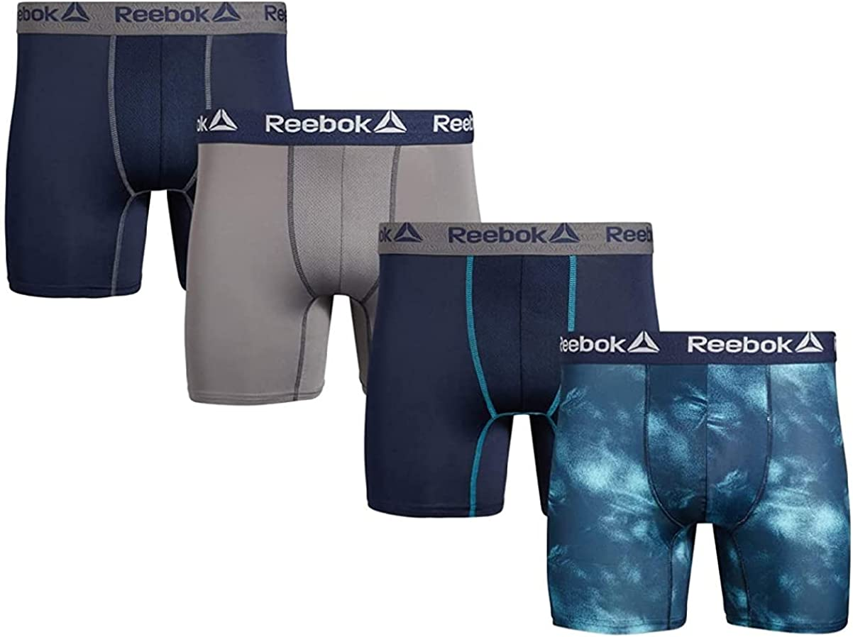 Reebok Boxer Brief Performance Training Boxer Briefs Men (Medium, Black with Blue)