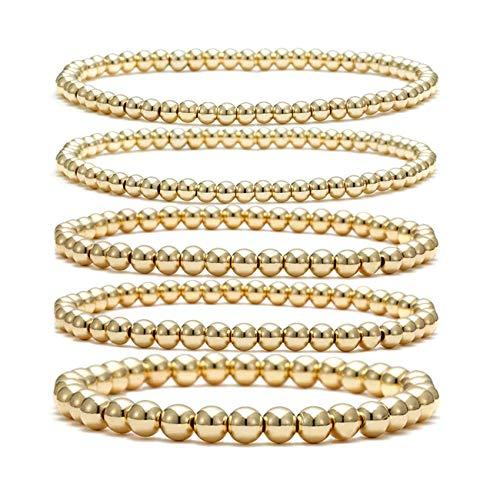 Gold Beaded Bracelet Set for Women Stack 14 K real Gold Plated Ball Bracelets Elastic String Bracelet 4 mm 5 mm 6mm Small Beads Friendship Bracelet for Men Teen Girls (gold)