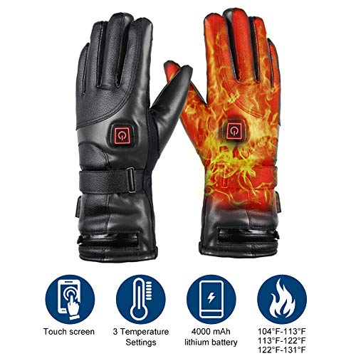 Wodesid 7.4V 4000mAh Heated Gloves Rechargeable Electric Leather Gloves Battery Heating Thermal Gloves Anti Slip Touch Screen Temperature Control for Winter Outdoor Sports