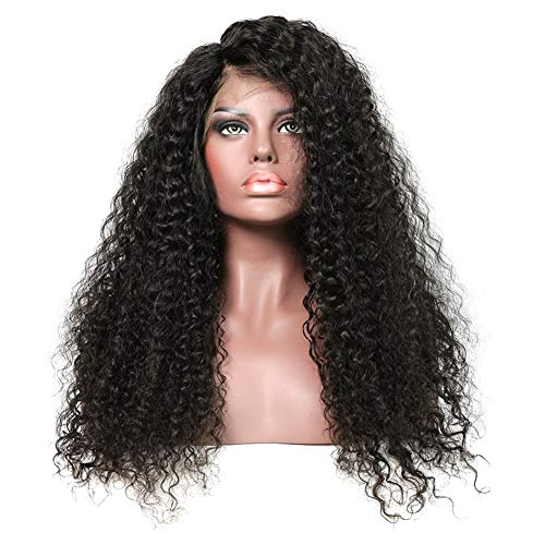 Femmes Bouclés Cheveux Perruques Cheveux Vierge Nœuds Blanchis Brésil 13 * 4 Dentelle Frontal perruque pré-plumé 150% Densité perruques de cheveux hum